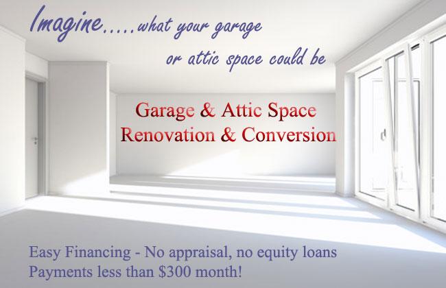 Garage, Attic, Bonus Room renovations and conversions