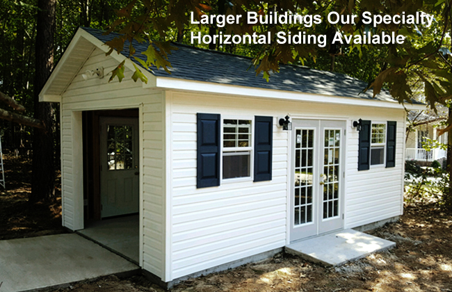 Raleigh Storage Sheds Built On Site · Large Buildings, Sheds With Garage  Doors,Vinyl Hardie Plank ...
