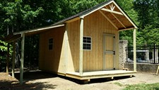 storage shed with overhang and lean-to
