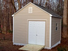 large vinyl storage shed with lattice apex